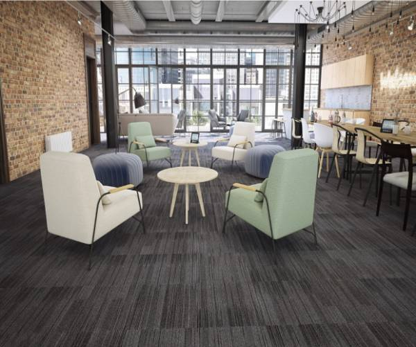 Coffee Shop with Lounge Chairs Tables and Dark Grey Carpet tiles