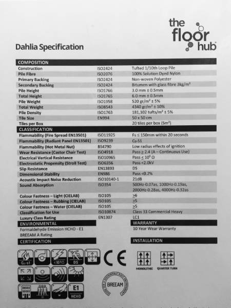 Dahlia Carpet Tile Specifications Sheet