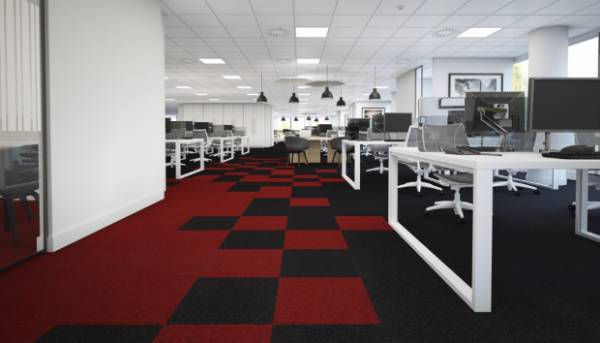 Office Scene with Red & Black Carpet tiles and White ceiling tiles