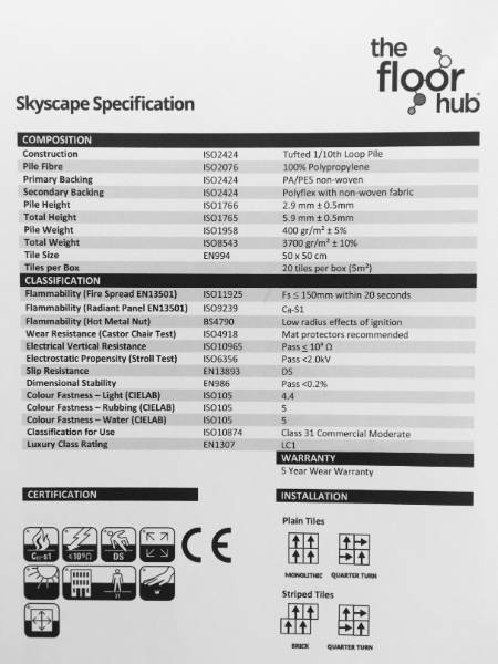 Skyscape Carpet Tile Specifications Sheet
