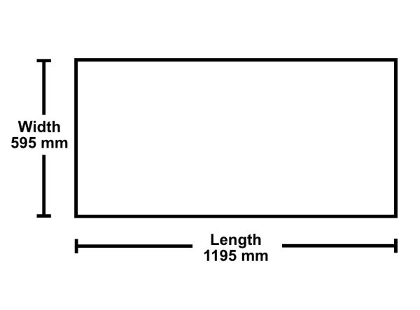 Diagram of a Ceiling Tile Size Width 595mm by Length 1195mm