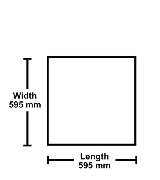 Diagram of a Ceiling Tile Size Width 595mm by Length 595mm